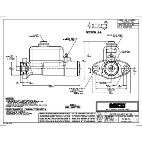 cylinder section 20 100 156 by mico master cylinder section
