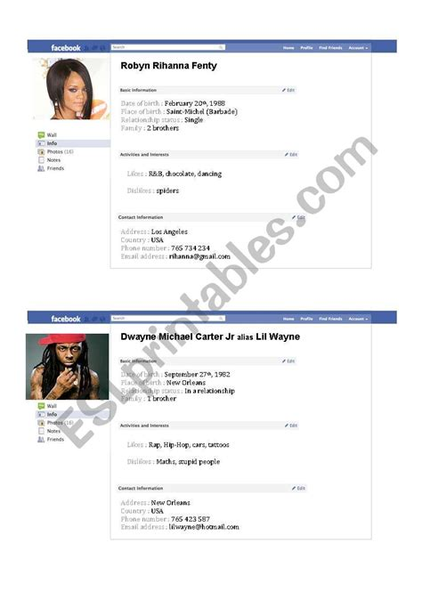 celebrity page on facebook celebrities fake facebook pages esl worksheet by