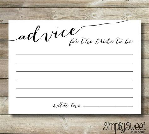 bridal shower advice game printable bridal shower advice cards for the bride to be elegant