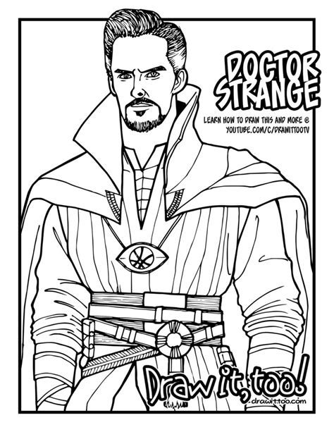 Doctor Strange Coloring Page   the sorcerer supreme draw it too