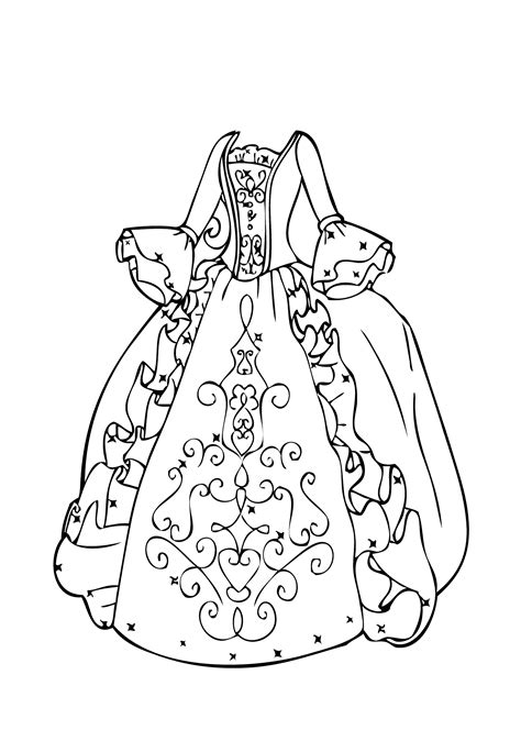 Coloring Page Dress by Gown Coloring Page For Printable Free