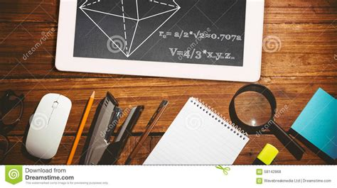 composite image of math problems stock photo