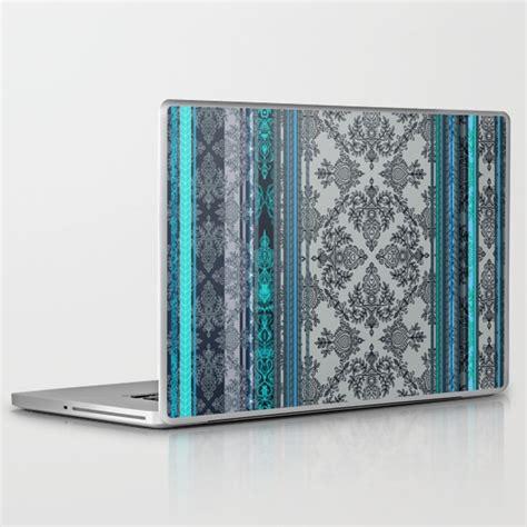vintage wallpaper laptop skin teal aqua grey vintage bohemian wallpaper stripes