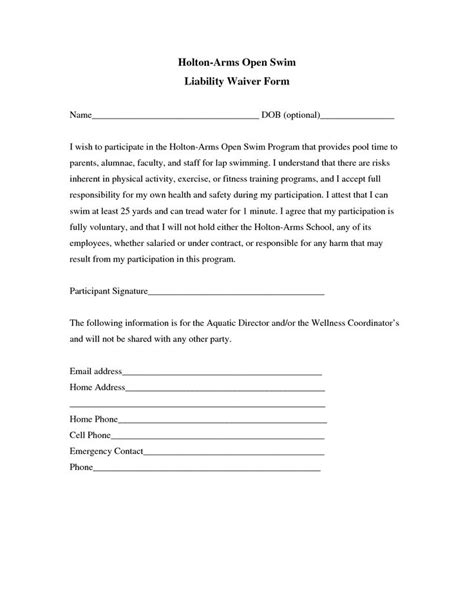 insurance release form template liability insurance liability insurance waiver template
