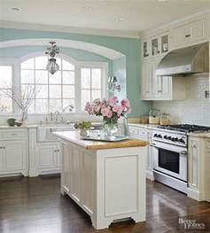 Ideas For White Kitchens white kitchen with a bit of airy bright blue paint more via http