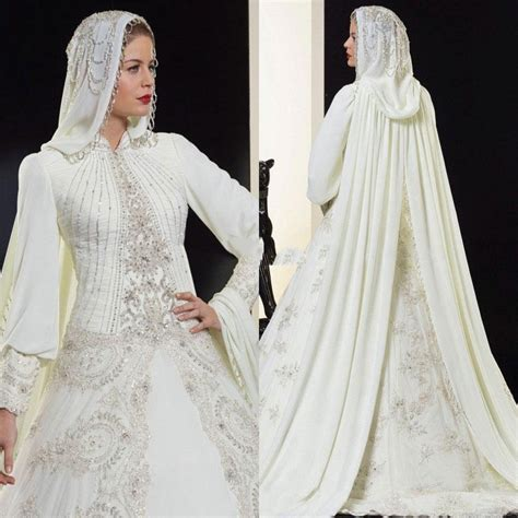high neck arabic islamic muslim sleeves wedding dresses a line beaded bridal gown