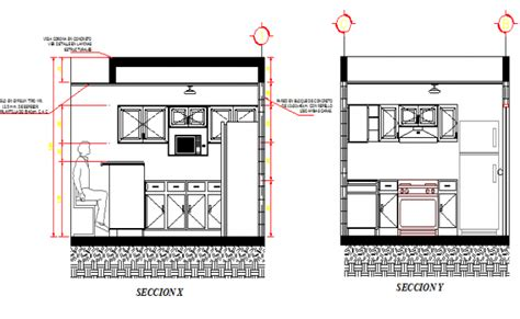kitchen design details kitchen details with right and left side section dwg file