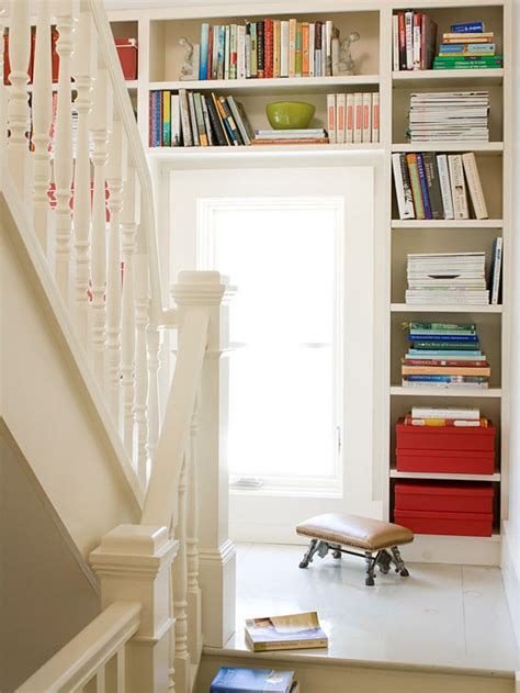 built in bookshelves stairs second floor landing built in bookcase eclectic
