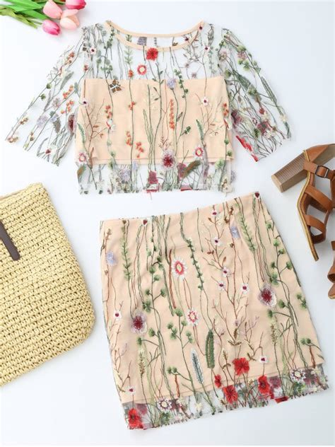 Embroidered A Line Mini Skirt floral embroidered see through top and a line mini skirt