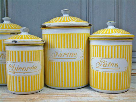 vintage canister set yellow sunflowers kitchen tins set of 4 vintage french enamel kitchen canister from chanteduc on etsy
