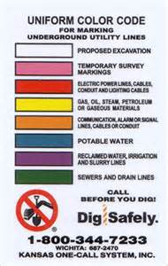 color code for utility marking kansas one call always call 811 before you dig