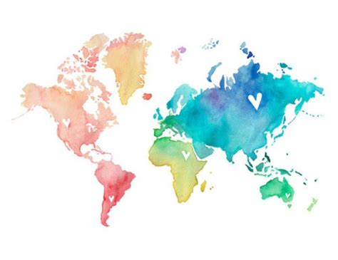 The World In Watercolor by High Heels And Diet Dr Pepper Watercolor World Map