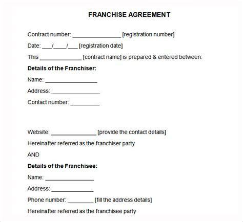 business plan franchise template sle franchise agreement 7 documents in pdf word