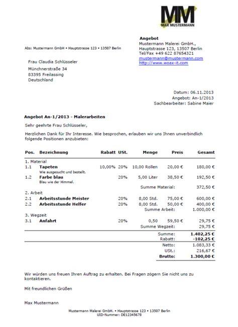 Angebot Musterschreiben Pdf Angebote Schreiben Angebotsvorlagen Und Angebot Muster