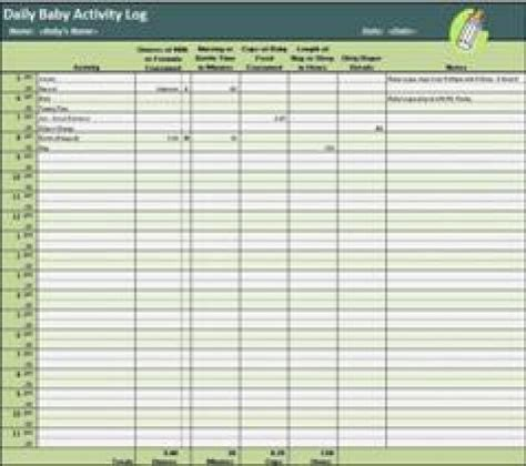 baby log book template 10 daily activity log templates word excel pdf formats