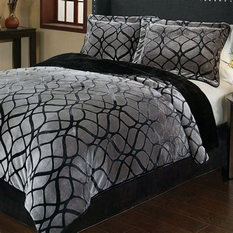 grey and black bedding bedroom black and gray comforter with sham on grey bed
