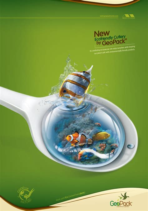 eco world new year advertisement ecofriendly disposables geopack spoon ads of the world