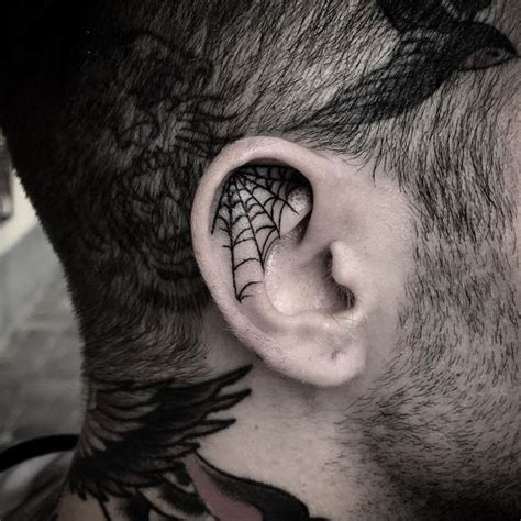 spider web tattoos for men ear tattoos ideas the ear tattoos for guys and