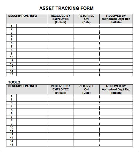 personal asset inventory management tracking template form