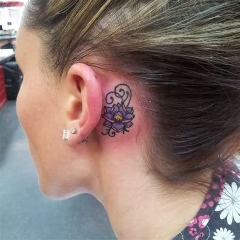flower tattoo behind ear 20 behind the ear tattoos for girls