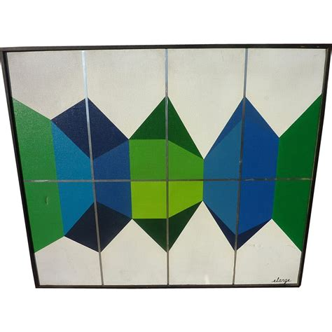 mid century geometric patterns signed mid century painting of colorful geometric shapes