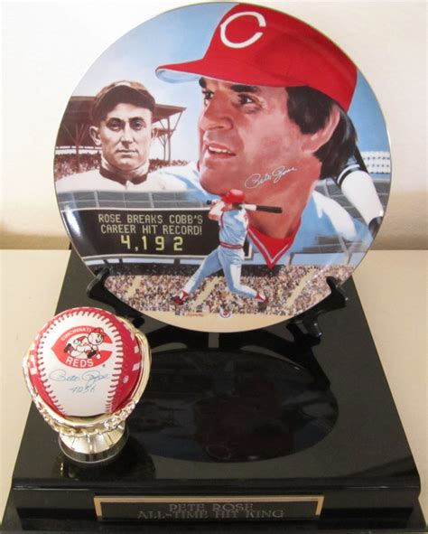 Cincinnati Records Pete Autographed Cincinnati Reds Logo Baseball And Hit Record Commemorative Plate