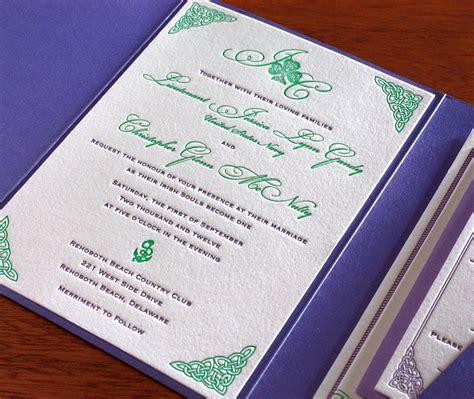 letterpress wedding invitations ireland celtic letterpress wedding invitation gallery