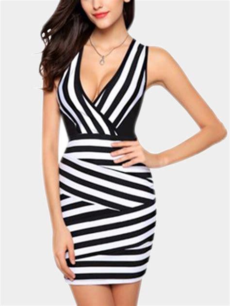 Striped Sleeveless Bodycon Dress sleeveless stripe pattern bodycon dress us 15 95 yoins