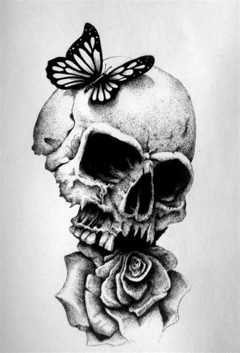 skull butterfly rose tattoo black and white skull and drawings search