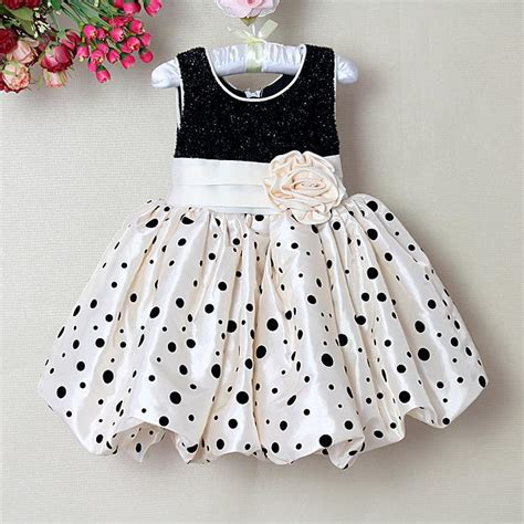 Baby Dress Polkadot new style princess dress polka dot baby dress black and pink infant dress with flower