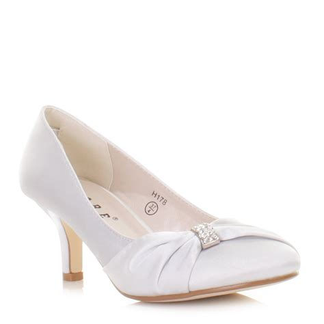 Silver Wedding Shoes by Wedding Shoes Womens Silver Satin Diamante Kitten Heel