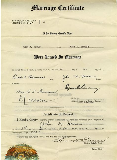Marriage License Arizona Records Documents And Letters Marriage Certificate Welcome Genealogy Louise Lost