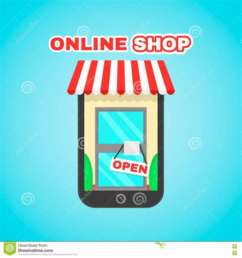 digital shopping mobile shop vector flat icon illustration e