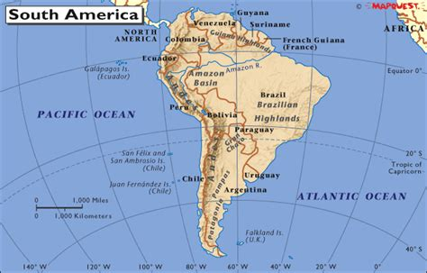 map of south america with equator staaten