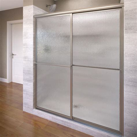 Framed Shower Doors Basco Deluxe 40 In X 68 In Framed Sliding Shower Door In Silver 7150 40tcl The Home Depot