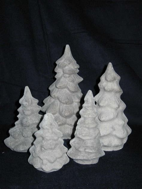 unfinished paper mache set of 5 christmas trees by pawprints49