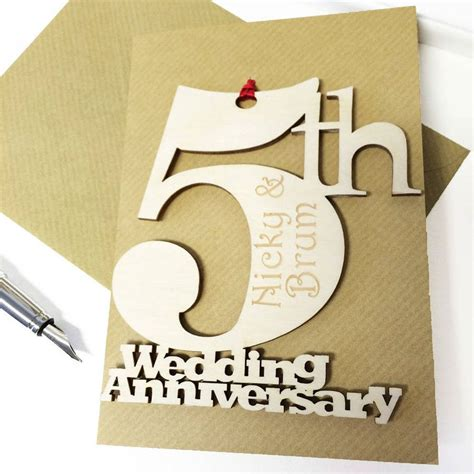 5th anniversary card template greeting card appealing personalised 5th wedding