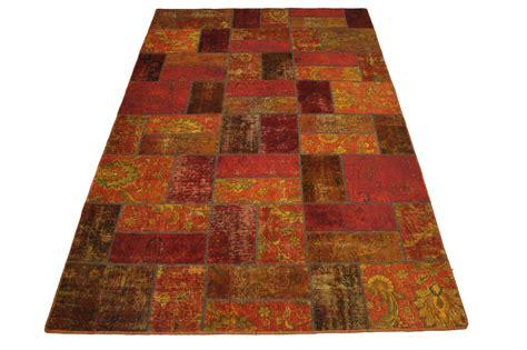 patchwork rug orange red  xcm   buy