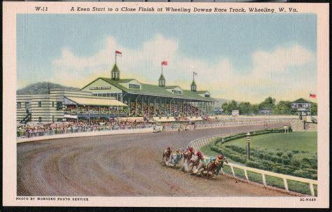 Wheeling Island Gift Cards - wheeling island wv downs racetrack grandstand vtg linen postcard old west va pc ebay