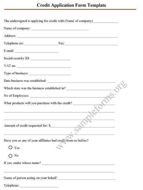 application form credit application form template business