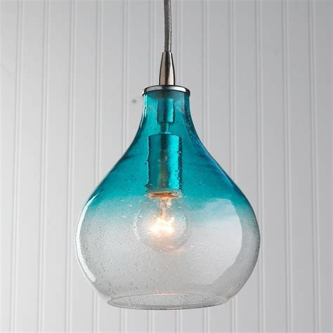 Teardrop Pendant Light Teardrop Seeded Glass Pendant Available In 4 Colors Ombre Aqu