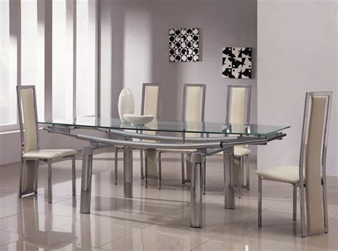 Glass Dining Table And Chairs Sets Delta Mega Extending Glass Chrome Dining Table And Chairs