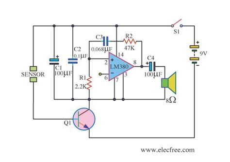 water sensor alarm using lm380 circuit wiring diagrams