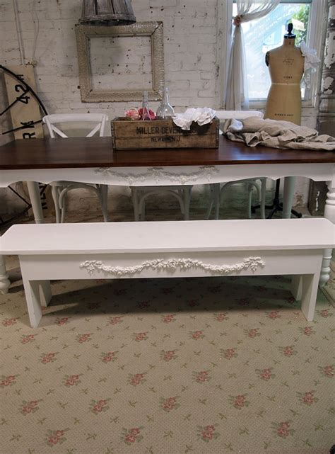 shabby chic bench painted cottage chic shabby farmhouse bench by paintedcottages