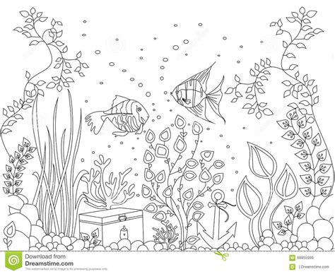 clipart da colorare coloring seabed fish vector illustration stock vector