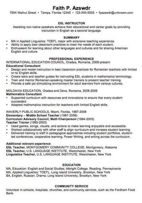 chronological resume sle esl instructor teaching resume exles resume and esl