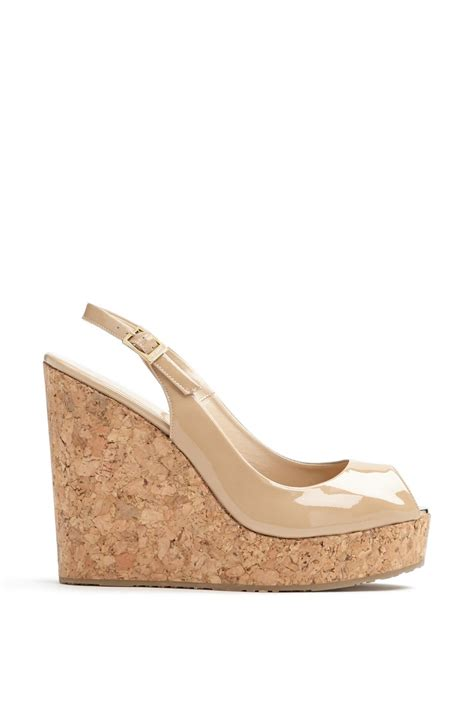 beige wedge sandal jimmy choo prova cork slingback wedge sandal in beige