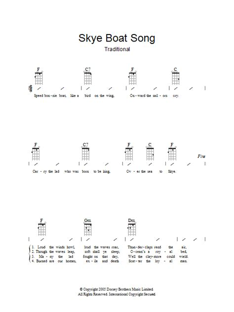 skye boat song strumming pattern the skye boat song sheet music traditional ukulele