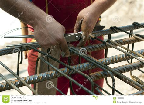 Rebar Worker by Construction Worker Ties Reinforcing Steel Royalty Free Stock Image Image 20898936