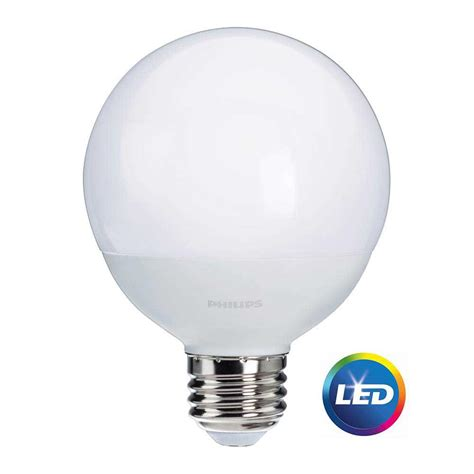Led Globe Light Bulb Philips 60w Equivalent Soft White Frosted G25 Globe Led Light Bulb 12 Pack 465823 The Home Depot